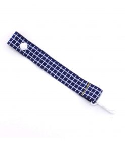Grid-on-Navy-dummy-pacifier-clip-saver-baby-ACCC-Compliant