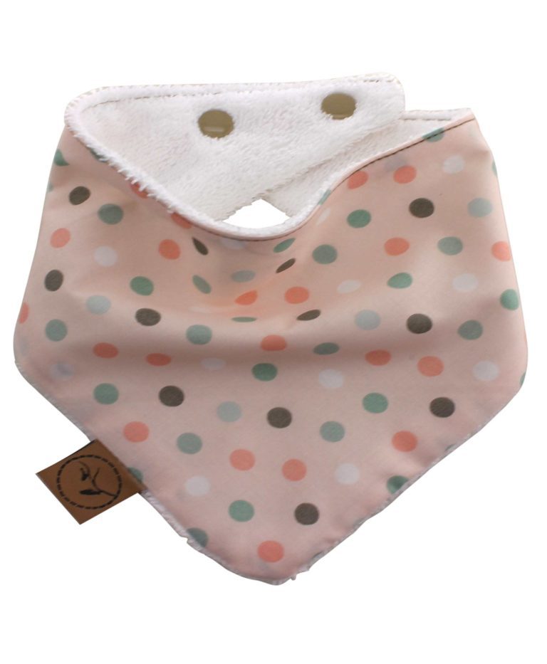peach-dots-baby-bandana-dribble-bib-adjustable-terry-cotton-designer