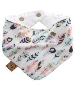 pastel-feathers-baby-bandana-dribble-bib-adjustable-terry-cotton-designer