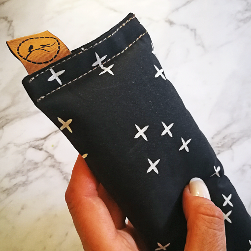 Crosses on Black thick eye pillow melbourne designer cotton