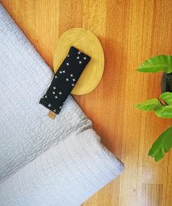 Crosses on Black yoga eye pillow melbourne designer cotton