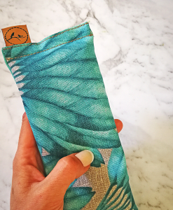 Teal Feather thick eye pillow melbourne designer cotton